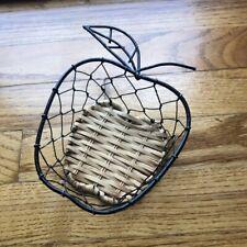 Apple shaped woven & metal small basket