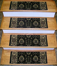 """Rug Depot Set of 13 Traditional Non Slip Carpet Stair Treads 26"""" x 9"""" Brown"""