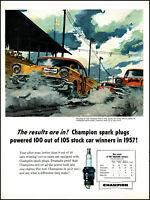 1957 Stock Car Race Winners Champion Spark Plugs vintage art print ad adl86