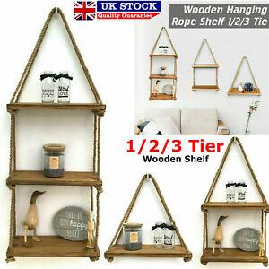 Natural Wood Rustic Wooden Hanging Rope Shelf - Handmade Solid Floating Shelves