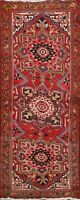 Vintage Geometric Heriz Traditional Runner Rug Wool Hand-knotted Oriental 3'x7'