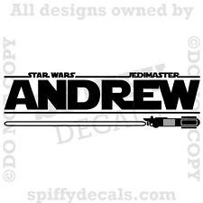STAR WARS PERSONALIZED CUSTOM NAME LIGHTSABER Boys Vinyl Wall Decal Jedi Master