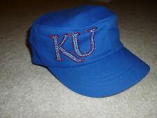 University of Kansas KU Jayhawks Adidas Royal Women's Bling Military Hat