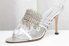 MANOLO BLAHNIK Silver Leather Chain Mail High Heel Pump Sandal 6.5-36.5 NEW