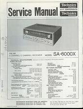 Orig Factory Technics/Panasonic SA-6000X FM/AM Stereo Receiver Service Manual