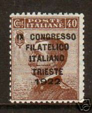 Italy Sc 142D MLH. 1922 40c brown w/ black overprint, scarce