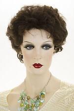 Dark Brown Brunette Short Human Hair  Wavy Wigs