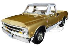 1968 CHEVROLET C-10 FLEET SIDE PICKUP TRUCK GOLD 1/18 DIECAST AUTOWORLD AMM1165
