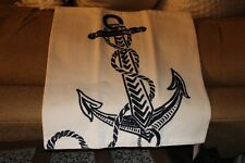 "NWT Pottery Barn Anchor Crewel Embroidered Pillow Cover 18"" BEACH HOUSE Nautical"