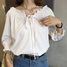 Women Boat Neck Blouse Off Shoulder Half Puff Sleeve Tie Vintage White Shirt Top