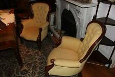 Matching pair of reproduction Victorian mahogany armchairs