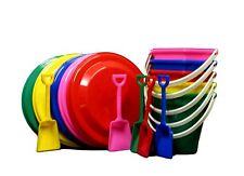 2 Toy Kits 2 ea Beach Buckets Toy Shovels Frisbees Flyers Mfg.USA Lead Free