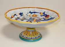 DERUTA ITALY LARGE HAND PAINTED POTTERY COMPOTE PLATE