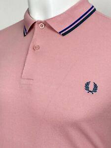 Fred Perry   Twin Tipped M1200 Pique Polo Shirt M L (Pink) Mod Scooter Skins 60s