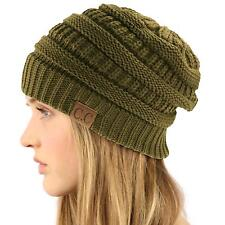 Unisex Winter Chunky Soft Stretch Cable Knit Slouch Beanie Skully Hat Cap Olive