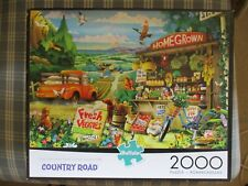"""Buffalo 2000 Pc Puzzle """"Country Road� Produce Stand Farm House Animals Priority!"""