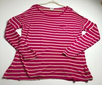 Old Navy Women's Long Sleeve Blouse Top XL Pink Beige Stripes Stretch Casual