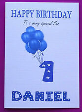 PERSONALISED 1st Birthday Card, Baby Boy Balloons, First Birthday Card Age 1