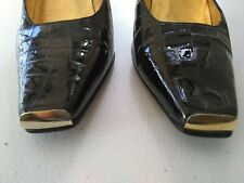 Vtg Timothy Hitsman Black Patent Leather RARE Gold Toe Heels Pumps Shoes Size 7