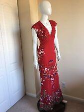 New Roberto Cavalli Red Floral-Print Maxi Dress NWT Retails $1475.00