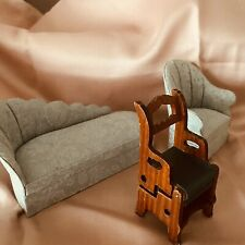 DOLLS HOUSE  Vintage Chaise Tub Chair Library Steps