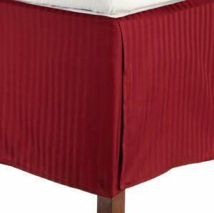 Burgundy Stripe - Tailored Valance/Bedskirt Split Corner 1000 TC Pima Cotton