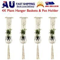 4 PCS Pot Holder Macrame Plant Hanger Hanging Planter Basket Hemp Rope Braided