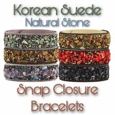 Korean Suede, Natural Stone and Crystal - Snap Closure Bracelets