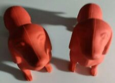 Lot of two Giant Dachshund Sausage Dog Doxie Teckel Red Eraser