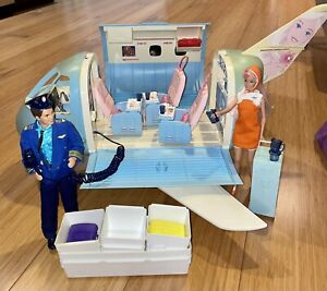 RARE 1999 Mattel BARBIE Blue Airplane Jet COMPLETE SOUND WORKS + Barbie & Ken