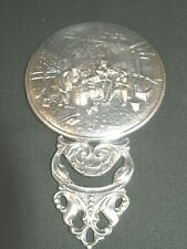 Vintage Silver Plated Hand or Purse Mirror/Repousse Scene on Back