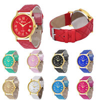 Fashion Women Lady Geneva Roman numerals Faux Leather Analog Quartz Wrist Watch