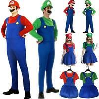 Adult Men Women Kids Super Mario Luigi Fancy Dress For Cosplay Halloween Costume