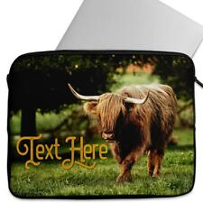 "Personalised Tablet Case HIGHLAND COW Sleeve Cover 7"" 8"" 9"" 10"" KS45"