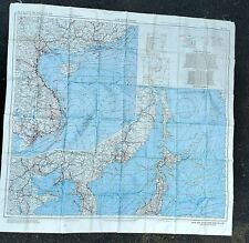 "US WWII ""AAF CLOTH CHART"" SURVIVAL MAP JAPAN & SOUTH CHINA SEA & EAST CHINA SEA"
