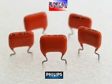 Philips 0.01uF 400V MKT vintage Orange Drop radial Capacitors Qty.5 USA
