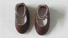 """Chaussures cuir  """"Bleuette"""" 42/19   Classique   Marron    pour poupées anciennes"""