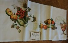 "Vintage Leacock Belgian Linen Tablecloth Fruit Jar 52""x70"" Oblong NWT Fall Color"
