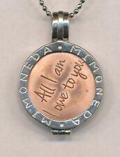 """Tweekleurige zilveren hanger met penning """"All I am I owe to You"""" Moneda"""