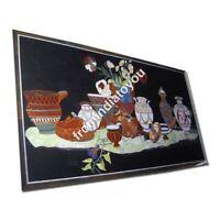 4'x2' Marble Dining Table Top Lapis Floral Semi Pietradura Inlay Home Decor E972