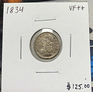 1834-P U.S. CAPPED BUST HALF DIME ~ VERY FINE++ CONDITION! C4795