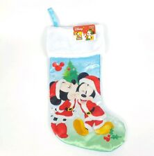 "Disney Christmas Mickey Mouse Minnie Stocking Holiday Gift 18"" Blue 90th"