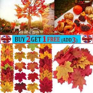 200Pcs Artificial Maple Leaf Autumn Fake Leaves Crafts Wedding XMAS Party Decor