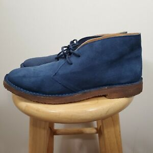 Polo Ralph Lauren Navy blue suede chukka crepe sole boots lace up mens 8.5