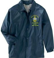 USS CANBERRA  CA-70  NAVY VETERAN COACHES EMBROIDERED LIGHTWEIGHT JACKET