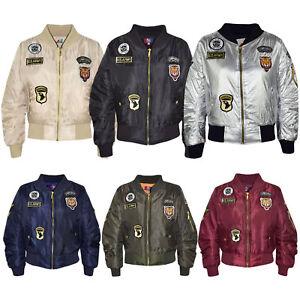 Kids Boys Girls Jacket Badges Print Bomber Padded Zip Up Biker Jackets MA 1 Coat