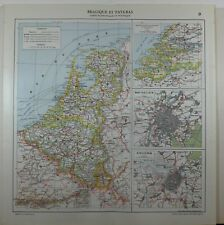 1929 ORIGINAL MAP ~ BELGIUM BRUSSELS CITY PLAN NETHERLANDS ANTWERP HOLLAND