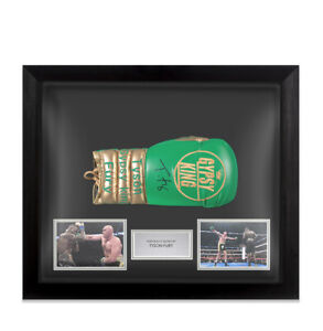 Framed Tyson Fury Signed Boxing Glove - Green & Gold, Gypsy King - Bubble Framed