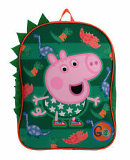 Peppa Pig George Dinosaurs 3D GO Green Childrens Backpack School Bag Rucksack