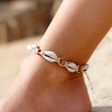 UK_ LX_ DR7 Women Wooden Beads Shell Summer Beach Anklet Ankle Bracelet Foot Jew